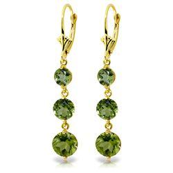 Genuine 7.2 ctw Peridot Earrings Jewelry 14KT Yellow Gold - REF-42X6M