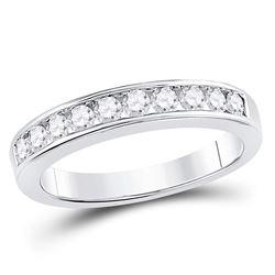 0.50 CTW Diamond Wedding Ring 14KT White Gold - REF-52F4N