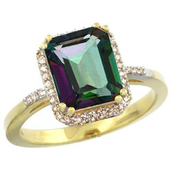 Natural 2.63 ctw Mystic-topaz & Diamond Engagement Ring 14K Yellow Gold - REF-42Z8Y