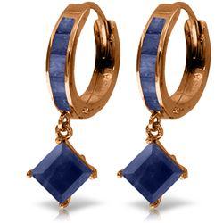 Genuine 4.2 ctw Sapphire Earrings Jewelry 14KT Rose Gold - REF-70W3Y