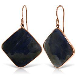 Genuine 43.5 ctw Sapphire Earrings Jewelry 14KT Rose Gold - REF-114H3X