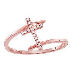 0.07 CTW Diamond Bisected Cross Ring 10KT Rose Gold - REF-9W7K