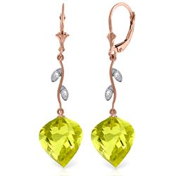 Genuine 21.52 ctw Lemon Quartz & Diamond Earrings Jewelry 14KT Rose Gold - REF-57Y6F