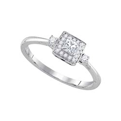 0.25 CTW Princess Diamond Solitaire Bridal Engagement Ring 14KT White Gold - REF-37Y5X