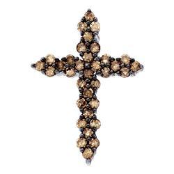 0.52 CTW Cognac-brown Color Diamond Cross Pendant 10KT White Gold - REF-19W4K