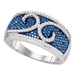 0.79 CTW Blue Color Diamond Ring 10KT White Gold - REF-52W4K