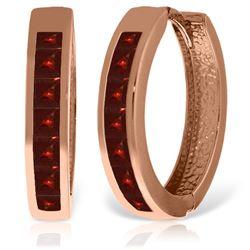 Genuine 1.85 ctw Garnet Earrings Jewelry 14KT Rose Gold - REF-57W6Y