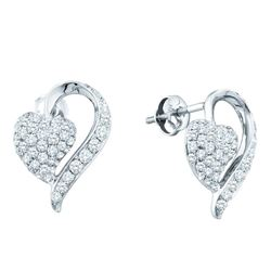 1 CTW Pave-set Diamond Heart Cluster Earrings 14KT White Gold - REF-101X9Y