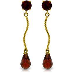 Genuine 4.3 ctw Garnet Earrings Jewelry 14KT Yellow Gold - REF-23H5X