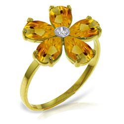 Genuine 2.22 ctw Citrine & Diamond Ring Jewelry 14KT Yellow Gold - REF-35Y9F