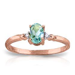 Genuine 0.46 ctw Blue Topaz & Diamond Ring Jewelry 14KT Rose Gold - REF-27R3P