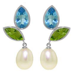 Genuine 16.6 ctw Blue Topaz & Peridot Earrings Jewelry 14KT White Gold - REF-45M7T