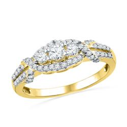 0.50 CTW Diamond 3-stone Bridal Engagement Ring 10KT Yellow Gold - REF-41Y9X