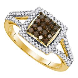 0.50 CTW Cognac-brown Color Diamond Square Cluster Ring 10KT Yellow Gold - REF-25K4W