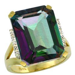 Natural 12.13 ctw Mystic-topaz & Diamond Engagement Ring 14K Yellow Gold - REF-71V2F