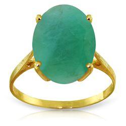 Genuine 6.5 ctw Emerald Ring Jewelry 14KT Yellow Gold - REF-94W4Y