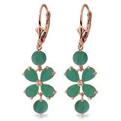 Genuine 5.32 ctw Emerald Earrings Jewelry 14KT Rose Gold - REF-70V4W