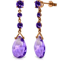 Genuine 13.2 ctw Amethyst Earrings Jewelry 14KT Rose Gold - REF-39Y3F