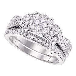 0.67 CTW Princess Diamond Soleil Bridal Engagement Ring 14KT White Gold - REF-97K4W