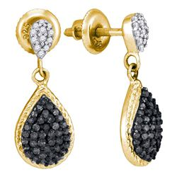 0.50 CTW Black Color Diamond Teardrop Cluster Dangle Earrings 10KT Yellow Gold - REF-24M2H