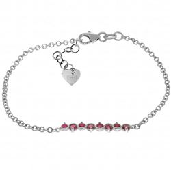 Genuine 1.55 ctw Ruby Bracelet Jewelry 14KT White Gold - REF-62N7R