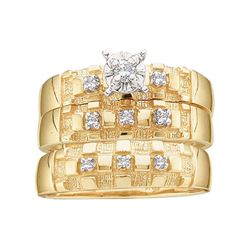 0.14 CTW His & Hers Diamond Solitaire Matching Bridal Ring 10KT Yellow Gold - REF-37X5Y