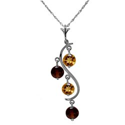 Genuine 2.3 ctw Citrine & Garnet Necklace Jewelry 14KT White Gold - REF-30V2W