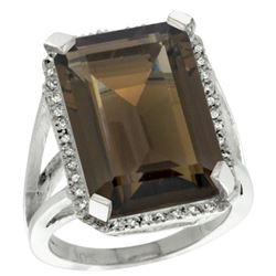 Natural 15.06 ctw Smoky-topaz & Diamond Engagement Ring 14K White Gold - REF-81A9V