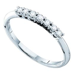 0.20 CTW Pave-set Diamond Slender Wedding Ring 14KT White Gold - REF-22H4M