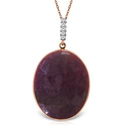 Genuine 19.58 ctw Ruby & Diamond Necklace Jewelry 14KT Rose Gold - REF-79R4P