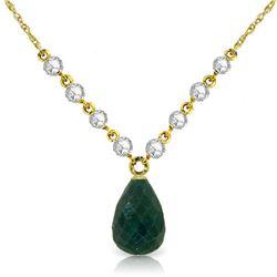 Genuine 15.6 ctw Green Sapphire Corundum & Diamond Necklace Jewelry 14KT Yellow Gold - REF-139P8H