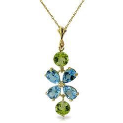 Genuine 3.15 ctw Blue Topaz & Peridot Necklace Jewelry 14KT Yellow Gold - REF-30N3R
