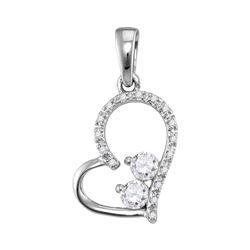 0.20 CTW Diamond 2-Stone Heart Love Pendant 10KT White Gold - REF-22X4Y