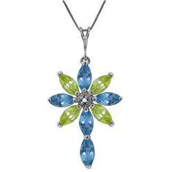 Genuine 2.0 ctw Blue Topaz, Peridot & Diamond Necklace Jewelry 14KT White Gold - REF-47X4M