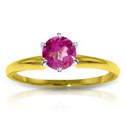 Genuine 0.65 ctw Pink Topaz Ring Jewelry 14KT Yellow Gold - REF-27Z3N