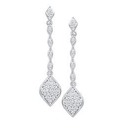 0.25 CTW Diamond Cluster Drop Dangle Earrings 10KT White Gold - REF-24K2W