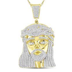 1.9 CTW Mens Diamond Jesus Christ Messiah Charm Pendant 10KT Yellow Gold - REF-112K5W