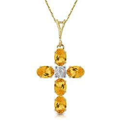 Genuine 1.88 ctw Citrine & Diamond Necklace Jewelry 14KT Yellow Gold - REF-39V8W