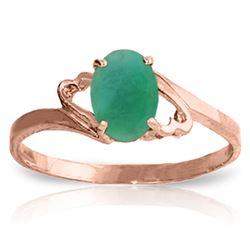 Genuine 0.75 ctw Emerald Ring Jewelry 14KT Rose Gold - REF-27R8P