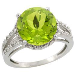 Natural 5.19 ctw Peridot & Diamond Engagement Ring 14K White Gold - REF-52V7F