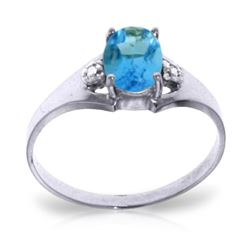 Genuine 0.76 ctw Blue Topaz & Diamond Ring Jewelry 14KT White Gold - REF-20K8V