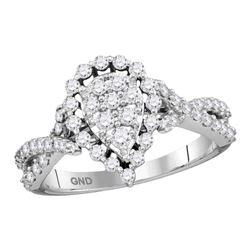 0.75 CTW Diamond Teardrop Fashion Ring 14KT White Gold - REF-67X4Y