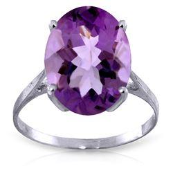 Genuine 7.55 ctw Amethyst Ring Jewelry 14KT White Gold - REF-45W3Y