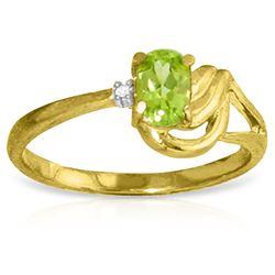 Genuine 0.46 ctw Peridot & Diamond Ring Jewelry 14KT Yellow Gold - REF-30Z6N