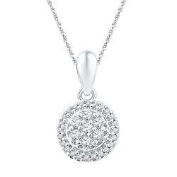 0.25 CTW Diamond Halo Flower Cluster Pendant 10KT White Gold - REF-19F4N