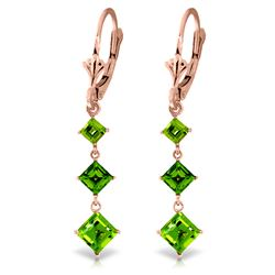 Genuine 4.79 ctw Peridot Earrings Jewelry 14KT Rose Gold - REF-36N8R