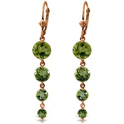 Genuine 7.8 ctw Peridot Earrings Jewelry 14KT Rose Gold - REF-46K3V