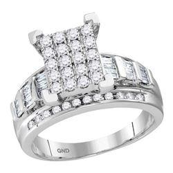 0.92 CTW Diamond Cluster Bridal Engagement Ring 10KT White Gold - REF-64N4F