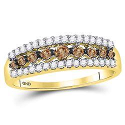 0.50 CTW Cognac-brown Color Diamond Ring 14k Yellow Gold - REF-30Y2X