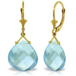 Genuine 17 ctw Blue Topaz Earrings Jewelry 14KT Yellow Gold - REF-38M2T